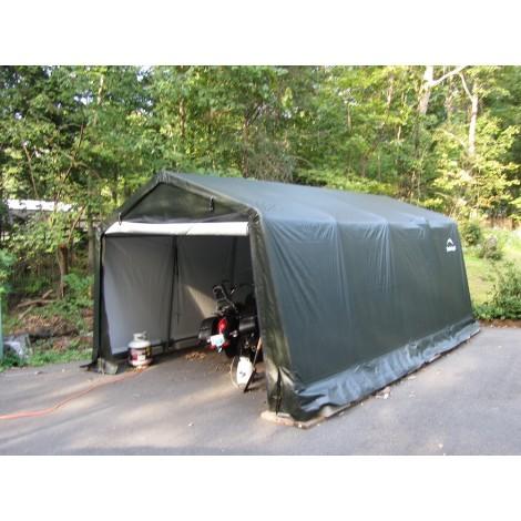 ShelterLogic 10W x 16L x 8H Peak 9oz Green Portable Garage