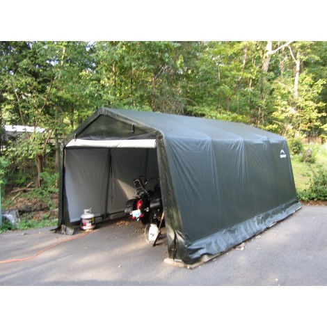 ShelterLogic 10W x 16L x 8H Peak 14.5oz Green Portable Garage