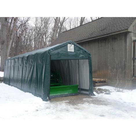 ShelterLogic 10W x 28L x 8H Peak 9oz Green Portable Garage