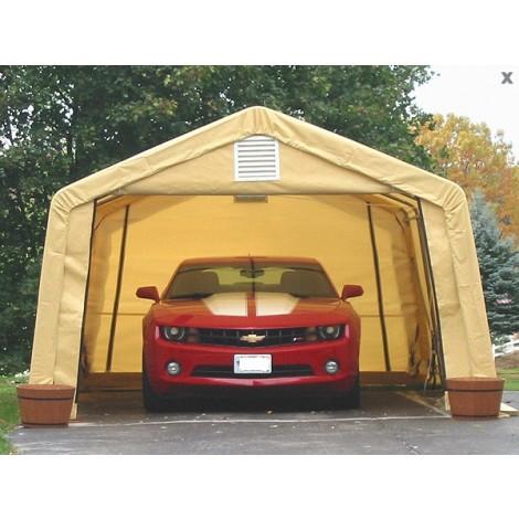 ShelterLogic 12W x 20L x 8H Peak 14.5oz Green Portable Garage