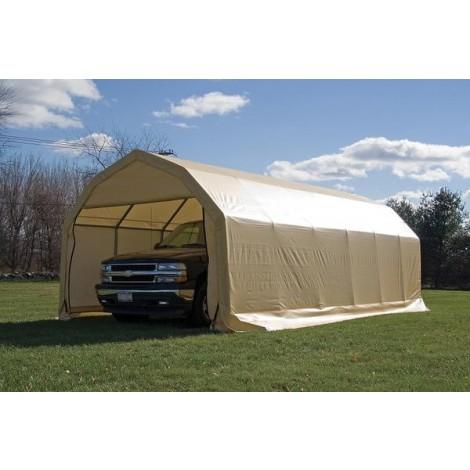 ShelterLogic 12W x 24L x 9H Barn 9oz Tan Portable Garage