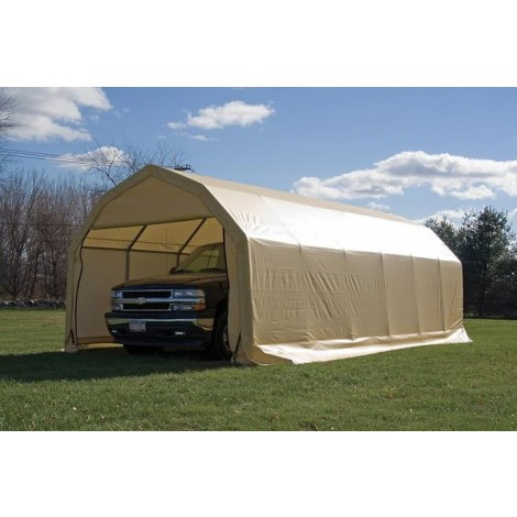 ShelterLogic 12W x 24L x 9H Barn 21.5oz Green Portable Garage