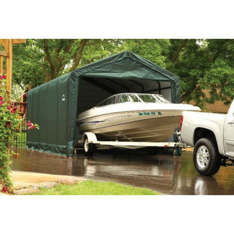 ShelterLogic 12W x 35L x 11H Sheltertube 21.5oz Green Portable Garage