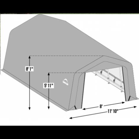 12W x 36L x 8H Peak 14.5oz Tan Wind and Snow Load Rated Portable Garage