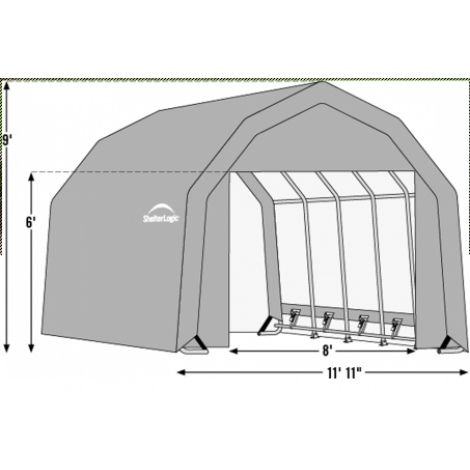 12W x 36L x 9H Barn 21.5oz Green Wind and Snow Load Rated Portable Garage