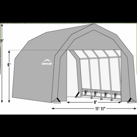 12W x 32L x 9H Barn 14.5oz Tan Wind and Snow Load Rated Portable Garage