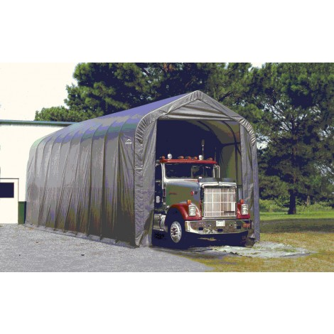 ShelterLogic 16W x 56L x 16H Peak 14.5oz Grey Portable Garage