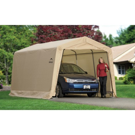 ShelterLogic 10W x 15L x 8H Peak 7.5oz Tan Portable Garage