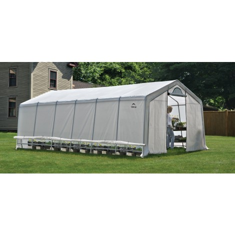 ShelterLogic 12W x 24L x 8H Peak Style GrowIT Greenhouse-in-a-Box 5.5oz Translucent Greenhouse