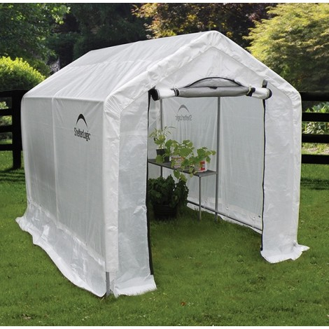 "ShelterLogic 6W x 8L x 6'6""H Peak Style Organic Growers 5.5oz Translucent Greenhouse"