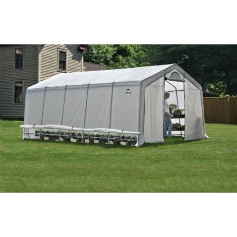 ShelterLogic 12W x 20L x 8H Peak Style GrowIT Greenhouse-in-a-Box 5.5oz Translucent Greenhouse