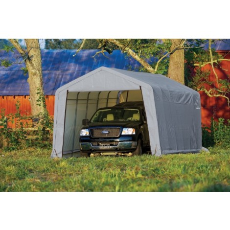 ShelterLogic 12W x 32L x 8H Peak 14.5oz Green Portable Garage