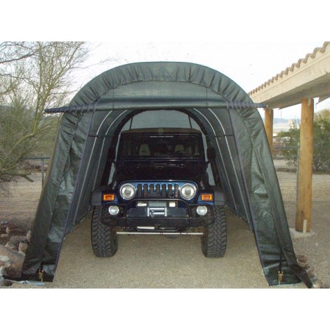ShelterLogic 10W x 28L x 8H Round 14.5oz Grey Portable Garage