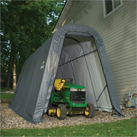 ShelterLogic 8W x 12L x 8H Round 9oz White Portable Garage