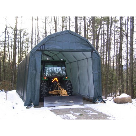 ShelterLogic 12W x 24L x 11H Barn 21.5oz Green Portable Garage