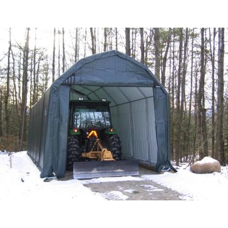 ShelterLogic 12W x 32L x 11H Barn 21.5oz Green Portable Garage