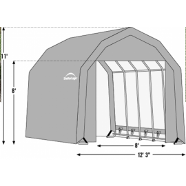 12W x 20L x 11H Barn 14.5oz Grey Wind and Snow Load Rated Portable Garage