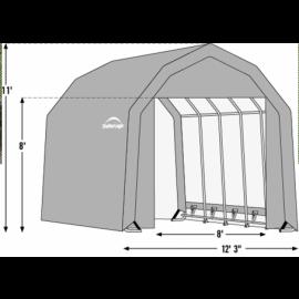 12W x 20L x 11H Barn 14.5oz Tan Wind and Snow Load Rated Portable Garage