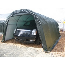 ShelterLogic 12W x 32L x 8H Round 21.5oz Green Portable Garage