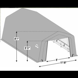 12W x 32L x 8H Peak 14.5oz Tan Wind and Snow Load Rated Portable Garage