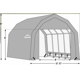 12W x 28L x 9H Barn 21.5oz Green Wind and Snow Load Rated Portable Garage