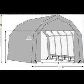 12W x 36L x 9H Barn 14.5oz Tan Wind and Snow Load Rated Portable Garage