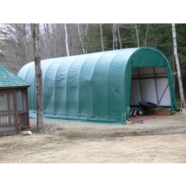 ShelterLogic 15W x 28L x 12H Round 9oz Green Portable Garage
