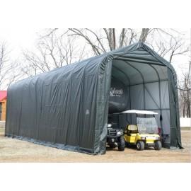 ShelterLogic 16W x 60L x 16H Peak 21.5oz Green Portable Garage