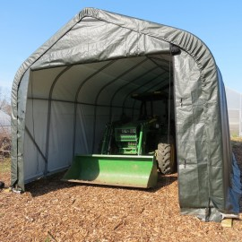 ShelterLogic 15W x 28L x 12H Peak 14.5oz Grey Portable Garage