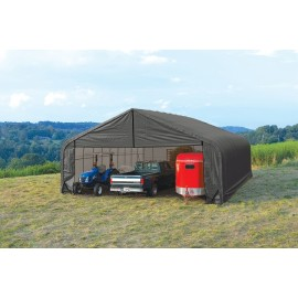 ShelterLogic 30W x 60L x 20H Peak 14.5oz Grey Portable Garage