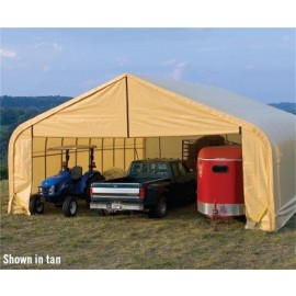 ShelterLogic 30W x 56L x 16H Peak 9oz Tan Portable Garage