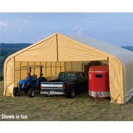 ShelterLogic 30W x 100L x 20H Peak 14.5oz Tan Portable Garage